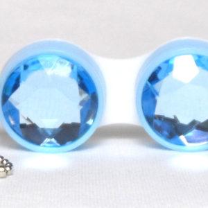 Etui Lentilles de Contact Porte-Cle Diamant Bleu
