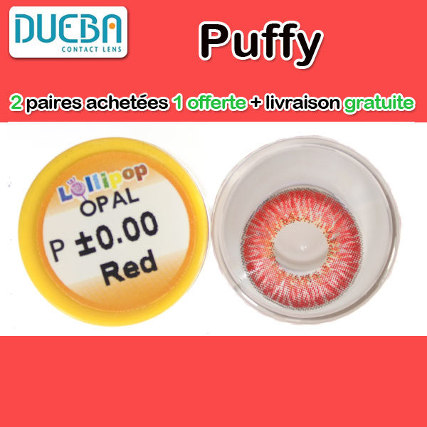DUEBA PUFFY ROUGE LENTILLE CONTACT ROUGE