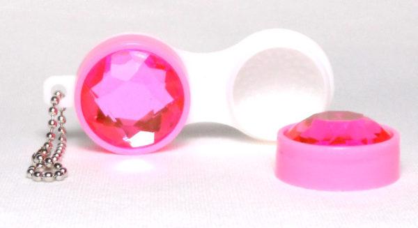Etui Lentilles de Contact Porte-Cle Diamant Rose